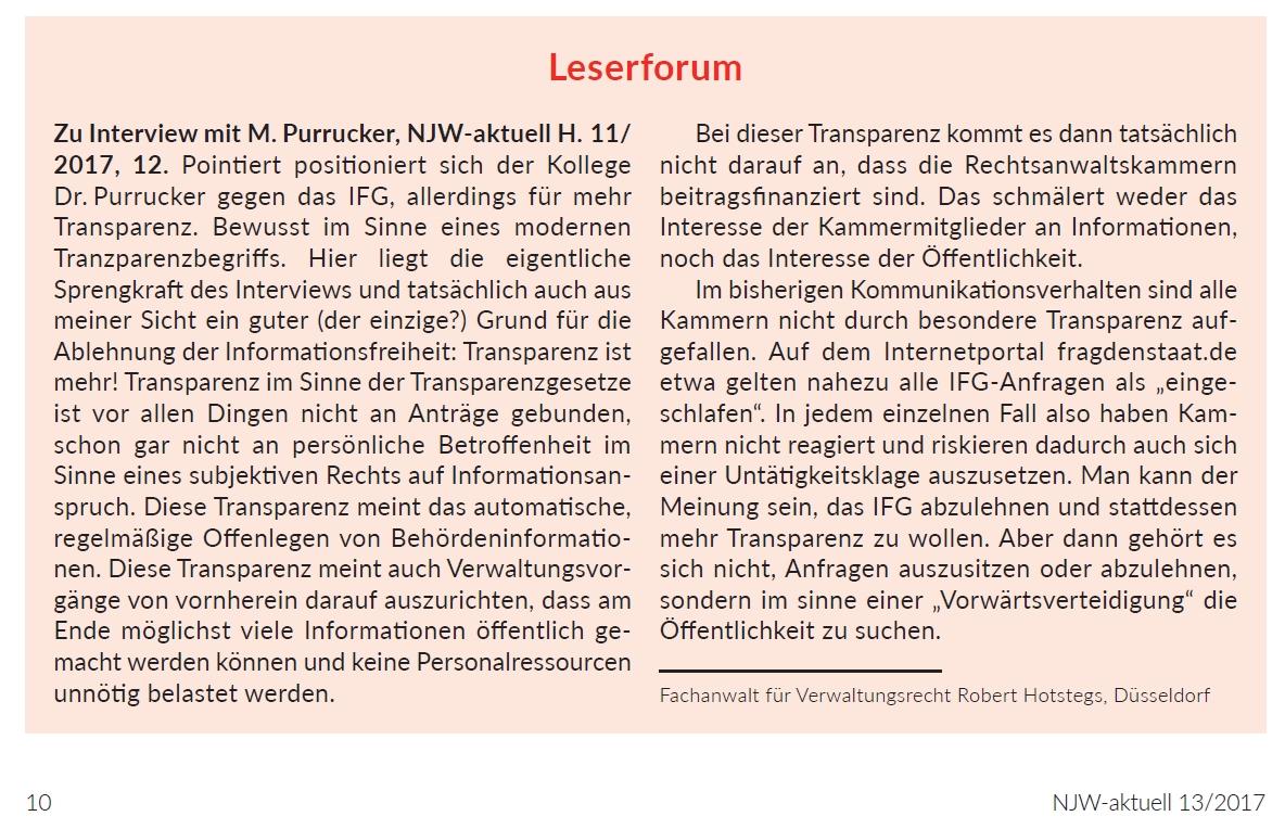 Leserforum, NJW-aktuell 13/2017, 10
