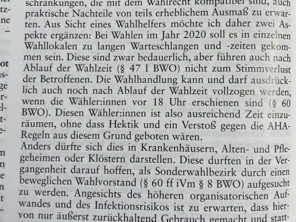 Leserbrief: Zu Vetter, Maskenpflicht im Wahlraum… (NVwZ 2021, 187ff.), NVwZ 2021, Heft 5, X