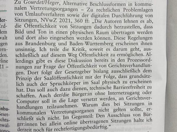 Leserbrief: Gourdet/Heger, Alternative Beschlussformen… (NVwZ 2021, 360ff.), NVwZ 2021, Heft 7, X