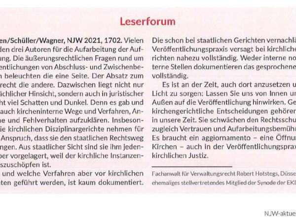 Leserforum, NJW-aktuell 26/2021, 10