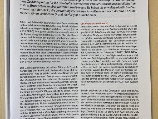 Standpunkt: Mehr VwGO wagen, NJW-aktuell 31/2021, S. 15