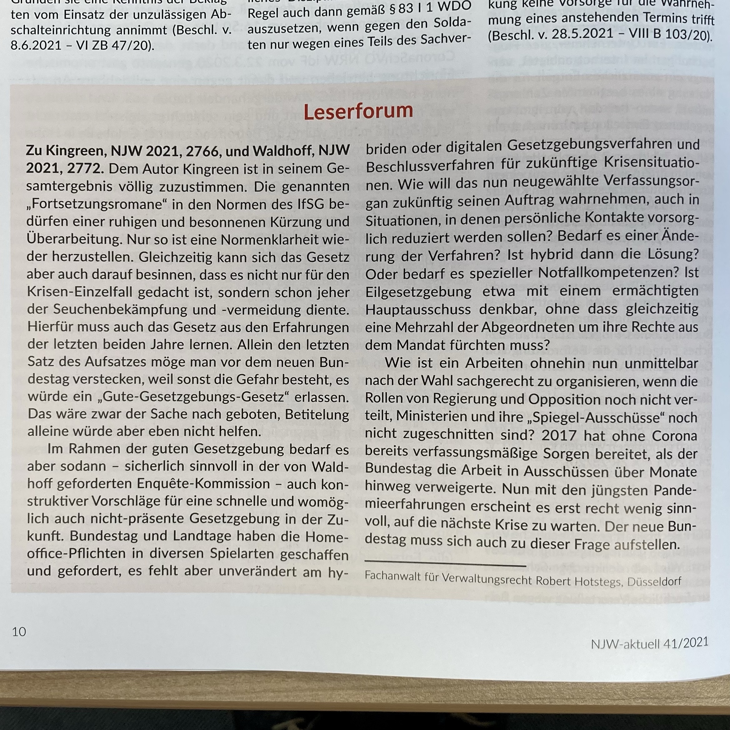 Leserforum, NJW-aktuell 46/2021, 10